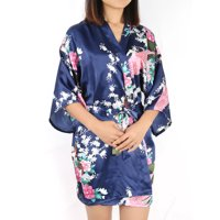 Women's Silk Satin Peacock & Blossoms Printed L/XL/XXL Short Kimono Robes Sexy Bathrobe For Wedding Party Rose