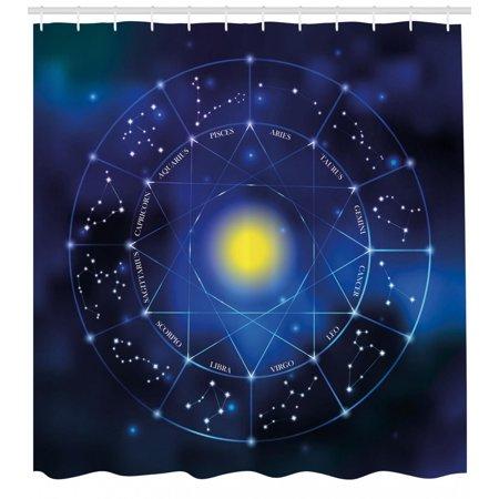 Constellation Shower Curtain Illustration Of Zodiac Signs In Geometric Circle Horoscopes Sun Fabric Bathroom Set With Hooks Pale Blue Indigo Yellow