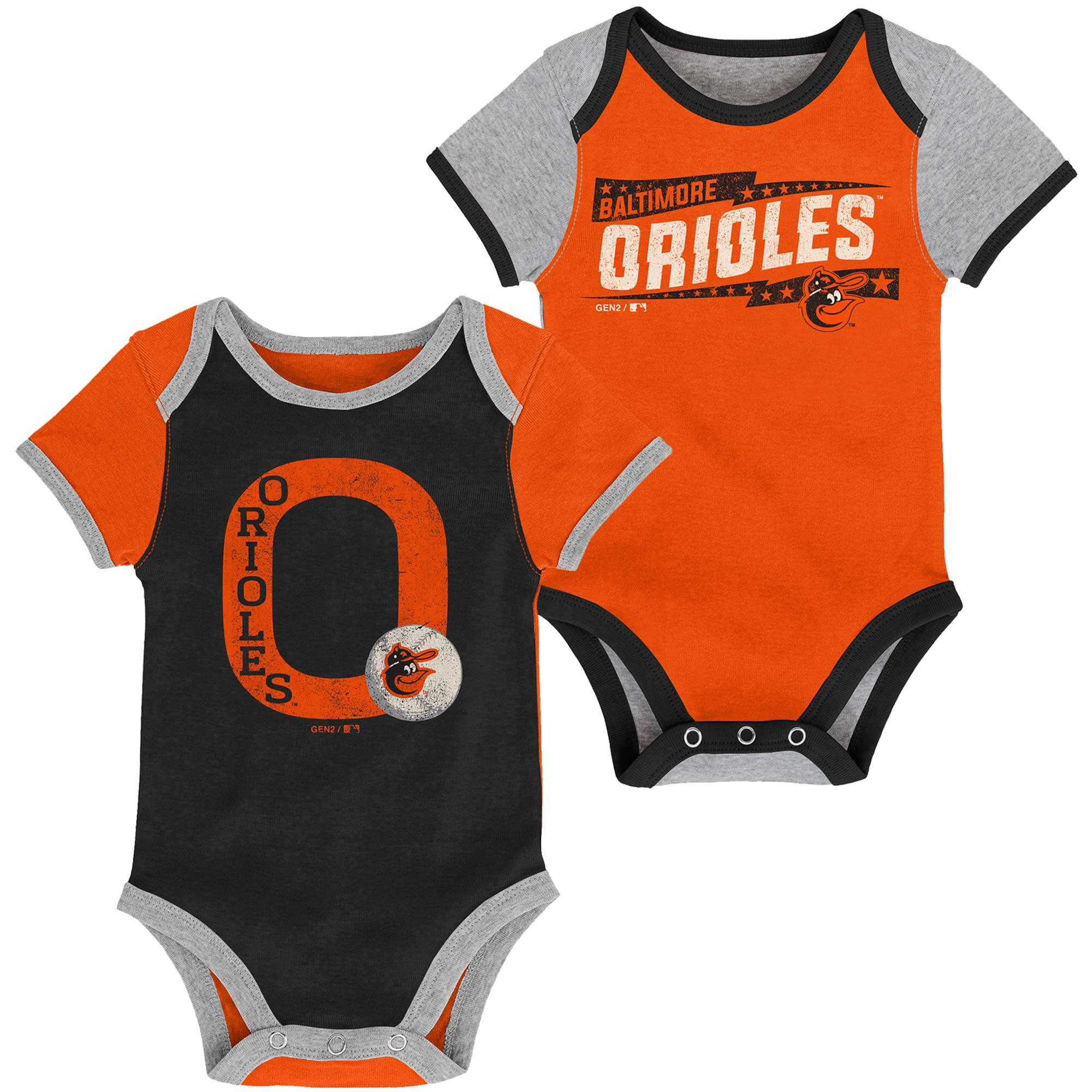 Baltimore Orioles Newborn Baseball Star Two-Pack Bodysuit Set - Black/Orange