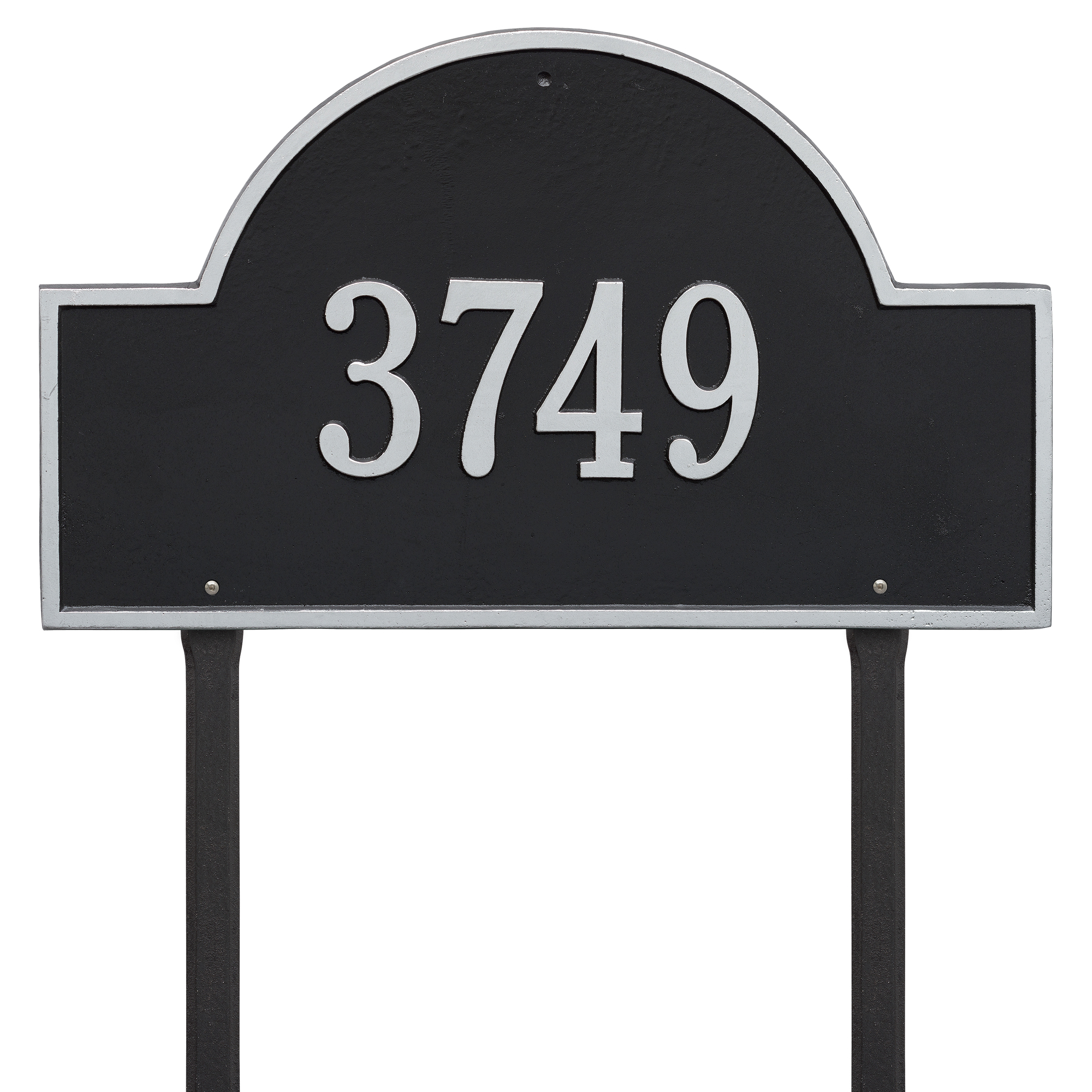 Personalized Whitehall Products 23-Inch Arch Marker Address Plaque in Black Silver by Whitehall