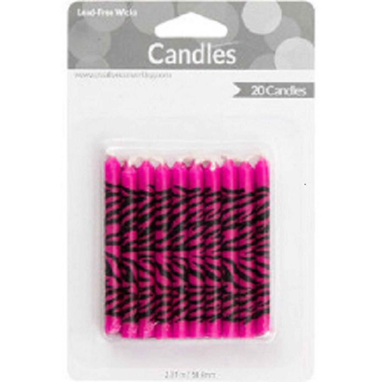 "Club Pack of 240 Sassy Pink & Black Zebra Decorative Birthday Cake & Cupcake Party Candles 2.3"""