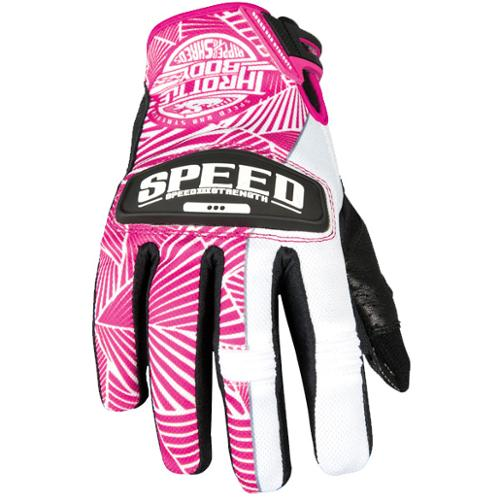 Speed & Strength Throttle Body Womens Leather Mesh Gloves Pink/White XL