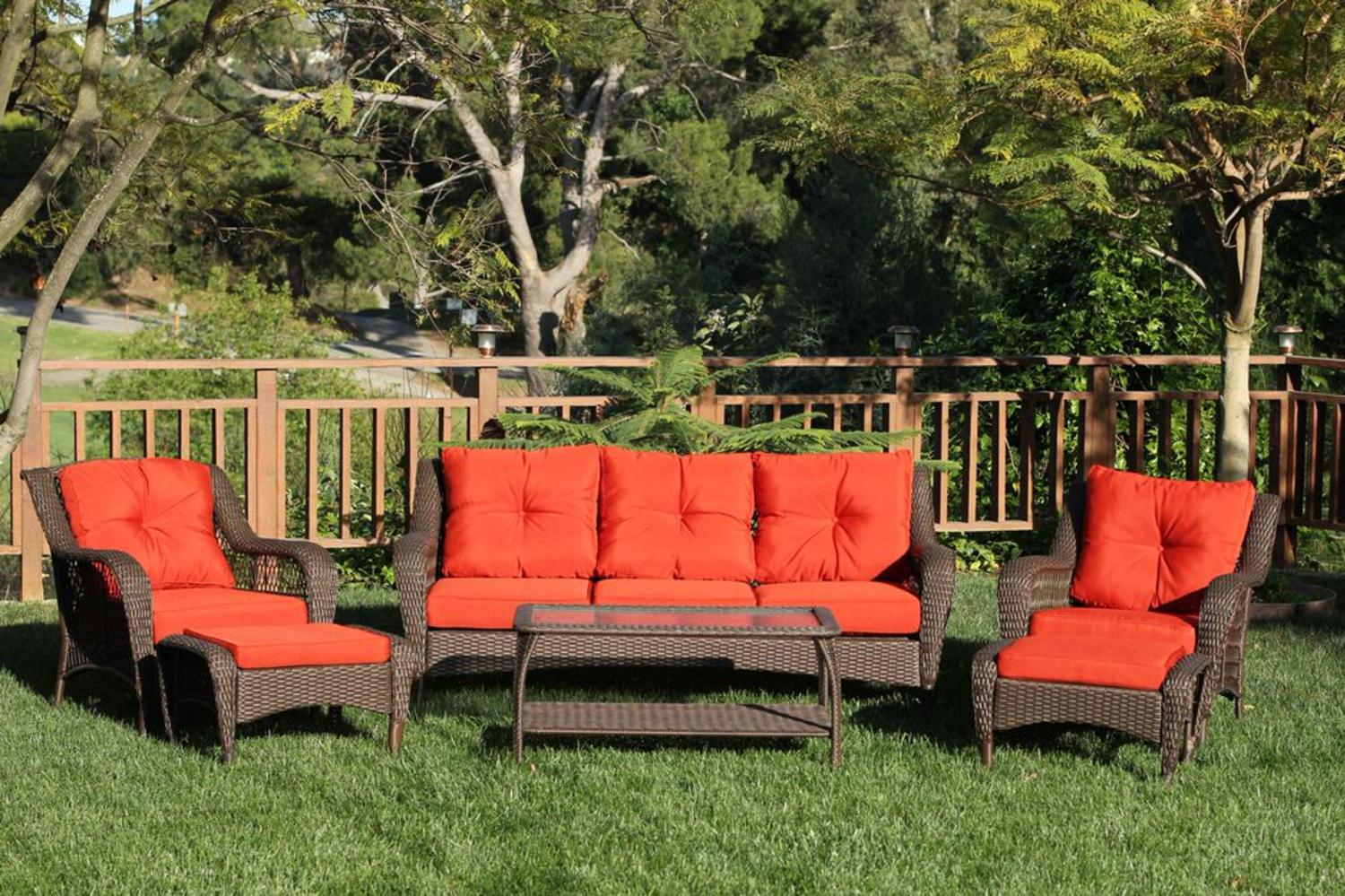 6-Piece Espresso Resin Wicker Outdoor Patio Seating Furniture Set Red-Orange Cushions by CC Outdoor Living
