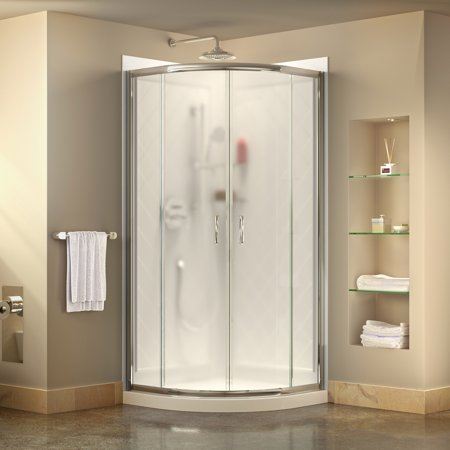 DreamLine Prime 36 in. x 76 3/4 in. Semi-Frameless Frosted Glass Sliding Shower Enclosure in Chrome with White Base and (Dreamline Glass)