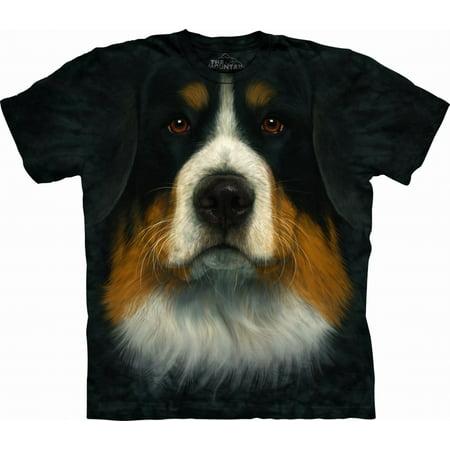 Adult Black 100% Cotton Bernese Mountain Dog T-Shirt - Mountain Dog Tie
