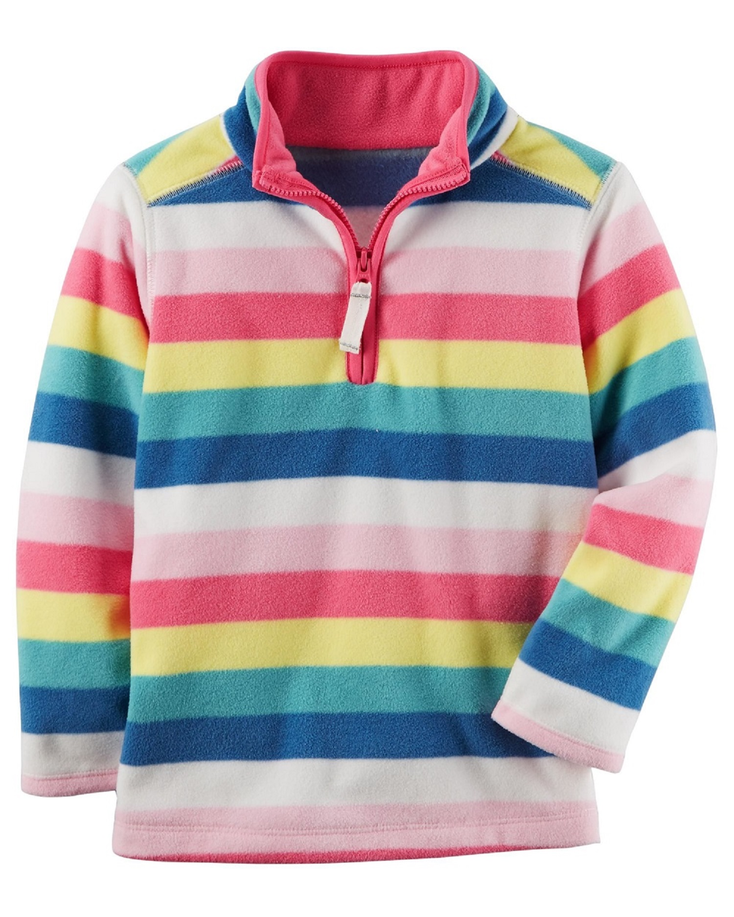 Carter's Baby Girls' Striped Half Zip Fleece Pullover Top; Multi-Color, 3 Months