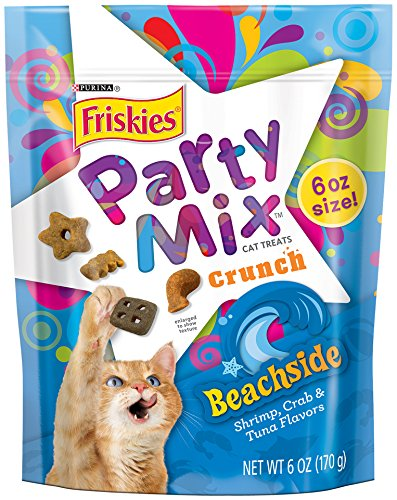 Party Mix Crunch Beachside Cat Treats, Seven (7) 6 Ounce Pouch of Purina Friskies Party... by