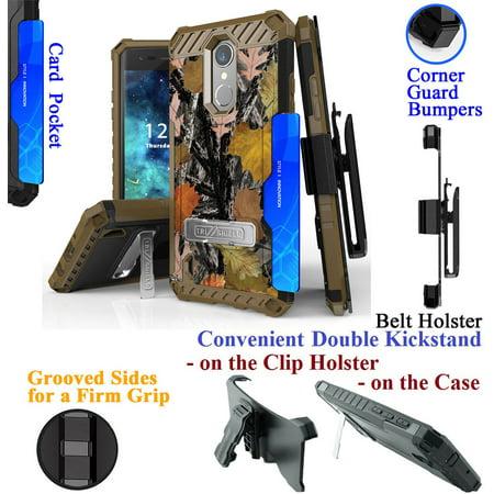 for LG K8 2017 Rebel 2 Risio 2 FORTUNE Phone Case Belt Clip Holster 2 Kick stand Card Slot Corner Guard Bumper Grip Sides Hybrid Armor Cover Camo Leaf