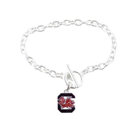 South Carolina Gamecocks Iridescent Silver Toggle Maroon Charm Bracelet Jewelry USC. (Carolina Panthers Jewelry)