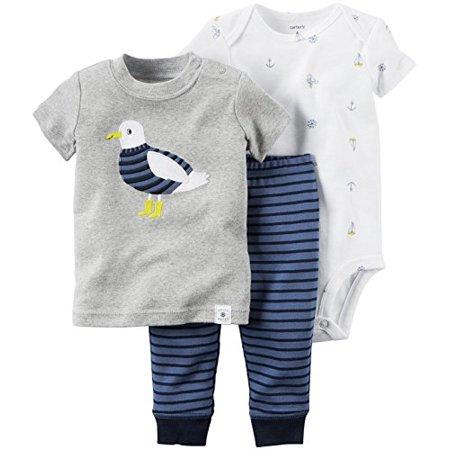 Carter's Baby Boys' 3 Piece Pant Set, Blue, Newborn (Three Piece Baby Set)