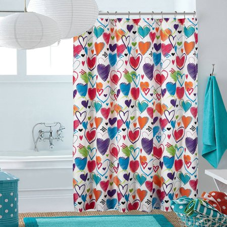 Latitude Bright Hearts Shower Curtain
