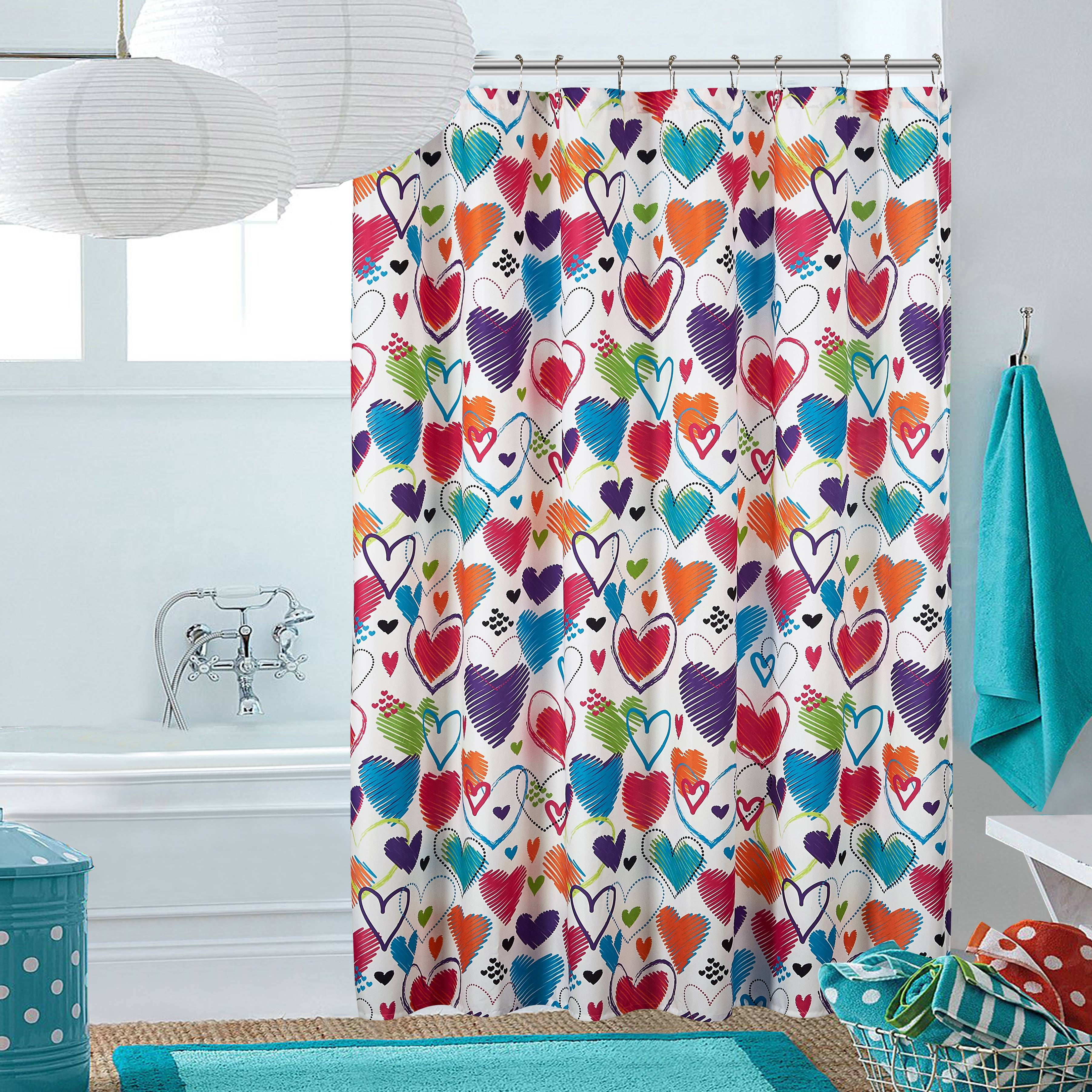 "Latitude Bright Hearts Shower Curtain- 72"" x 72"""