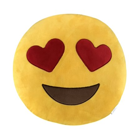 KINREX Emoji Pillow Toys For Kids And Adults - Heart Eye Yellow Pillow Cushion - Birthday Gifts For Boys, Girls, And Adults - 35 (35 Cm Natural)
