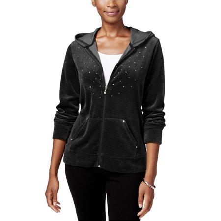 Karen Scott Womens Embellished Hoodie Sweatshirt deepblack PL - Petite