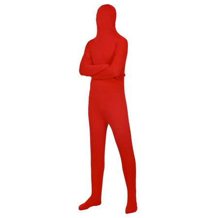 Long Halloween Two Face (HDE Full Body Supersuit Halloween Costume Adult Sized Footed Face Covering Stretch Zentai Spandex Outfit (Red,)