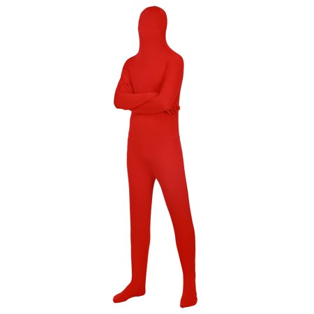 HDE Full Body Supersuit Halloween Costume Adult Sized Footed Face Covering Stretch Zentai Spandex Outfit (Red, X-Large) (Pimp Halloween Outfits)