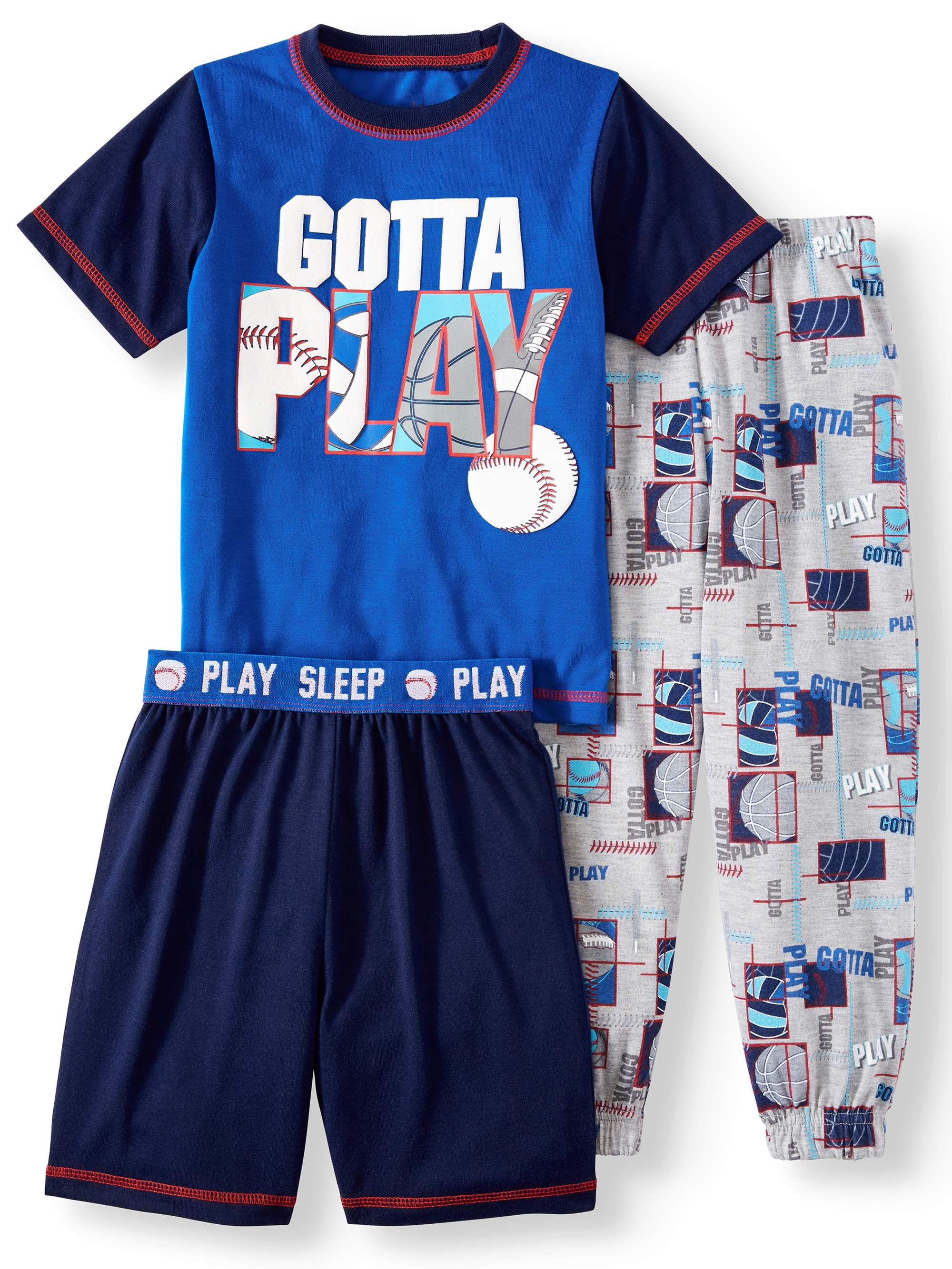 T-Shirt, Shorts & Jogger Pants, 3pc Pajama Set (Toddler Boys)