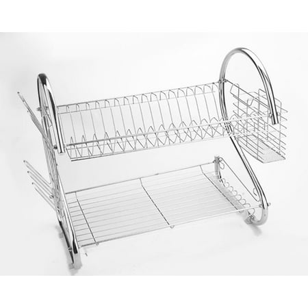 Generic 2-tier dish rack dish drying rack, kitchen rack bowl rack cup drying rack Dish Drainer dryer tray cultery holder organizer