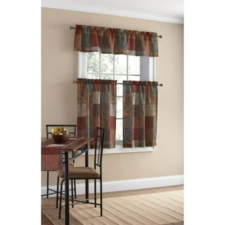 Mainstays Polyester Kitchen Curtain and Valance Set