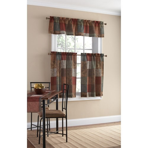 Mainstays Polyester Small Curtain Panel And Valance Set