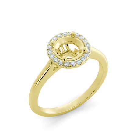 Round Cut Halo Vintage Unique Diamond Engagement Ring Semi Mount 14k Yellow (Yellow Gold Diamond Semi Mount)