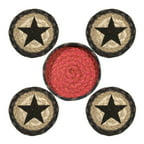 Earth Rugs 29-CB238BS Stars Design Round Jute Basket with 4-Printed Coasters,...