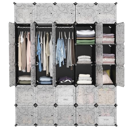 LANGRIA 30-Cube DIY Modular Shelving Storage Organizer Extra Large Wardrobe with Clothes Rod, Furniture for Shoes Clothes (Patterned Black)