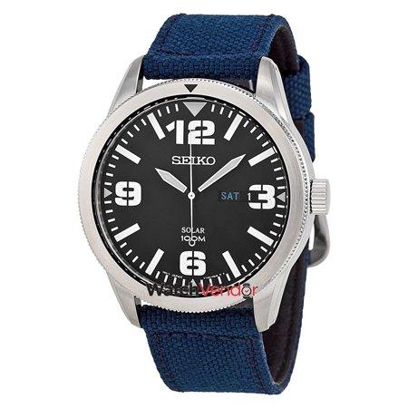 Seiko Solar Black Dial Beige Nylon Men's Watch SNE331 - image 2 de 2