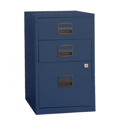 Bisley Three Drawer Steel Home Filing Cabinet, Navy BDSFILE3NV by Bindertek