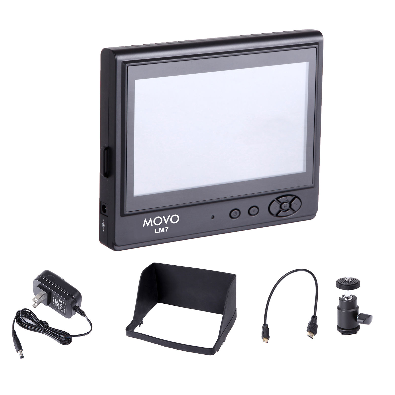 """Movo Photo LVM-7 7"""" LCD On-Camera Field Video Monitor with Sun Shade, AC Adapter, Battery Plate & HDMI/Component Inputs for DSLR Cameras & Camcorders"""