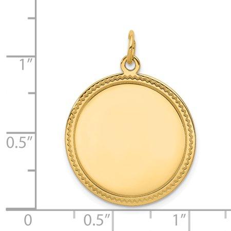 14K Yellow Gold Plain .011 Gauge Engravable Round Disc Charm - image 1 de 2