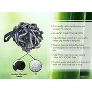 Bamboo Fiber Loofah Sponge by Rolling Beauty Shower Body Scrubber (3 Pack)