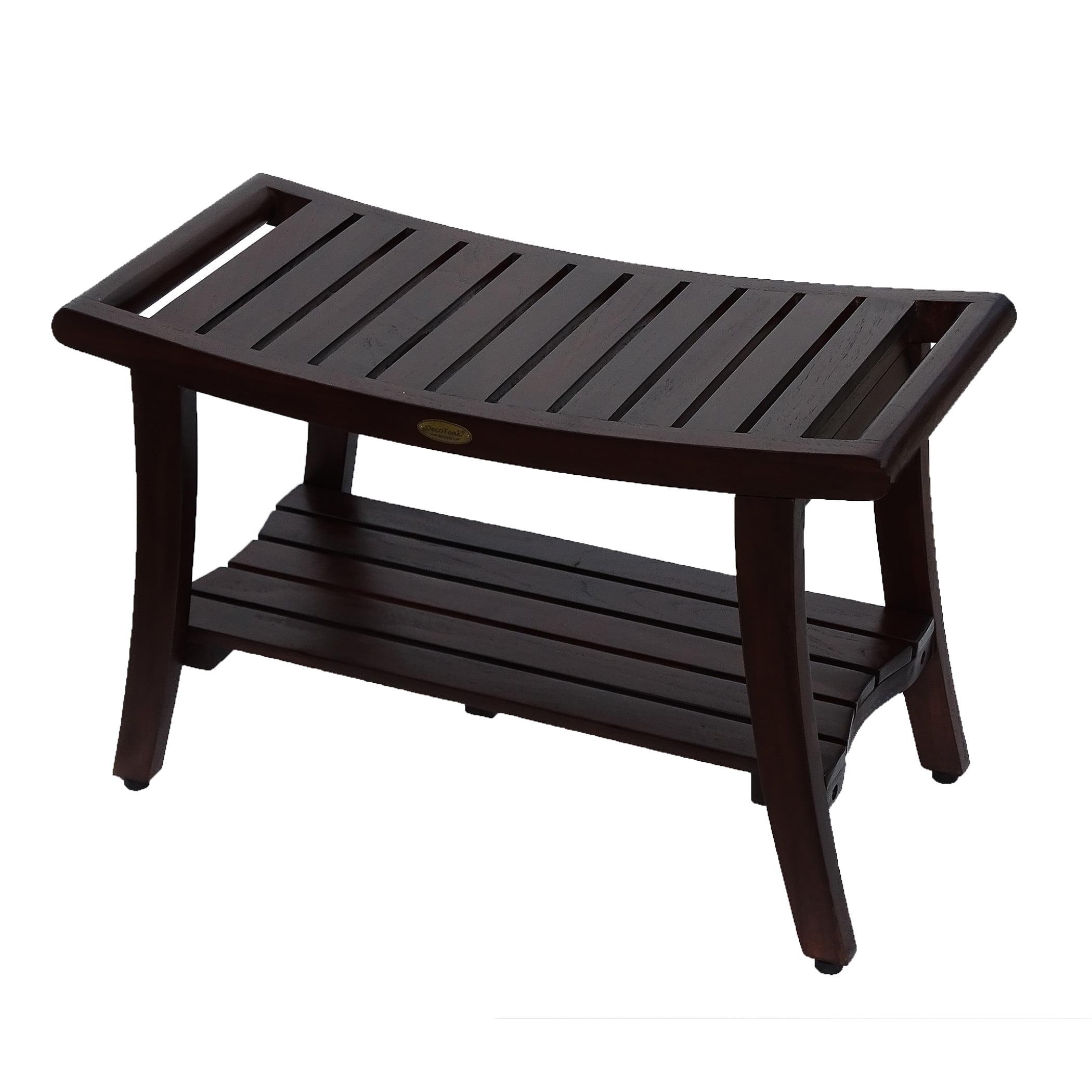 Incredible Decoteak Harmony 30 Teak Shower Bench With Shelf And Liftaide Arms Walmart Com Machost Co Dining Chair Design Ideas Machostcouk