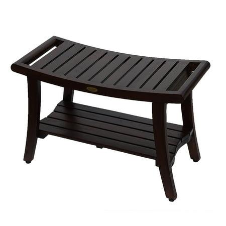Decoteak Harmony 30 Teak Shower Bench With Shelf And Liftaide Arms