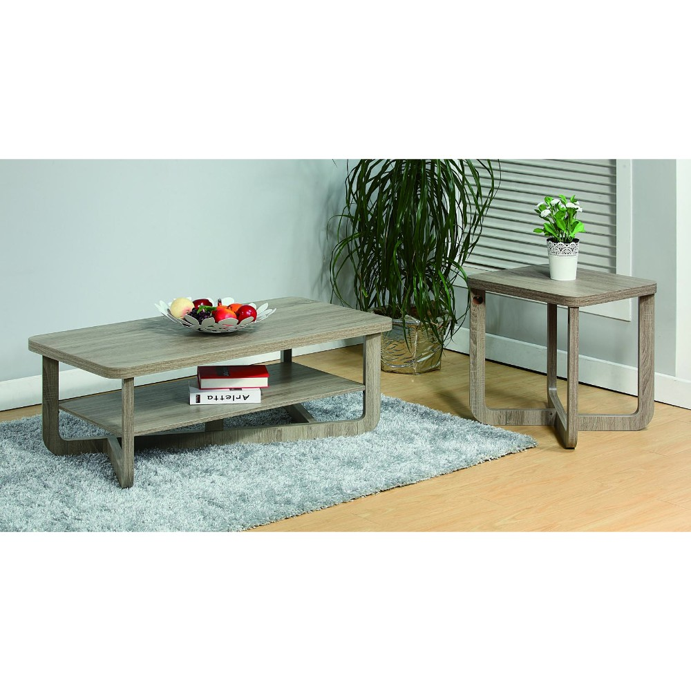 Coffee & End Table With Rounded Corners, Set of Two, Gray