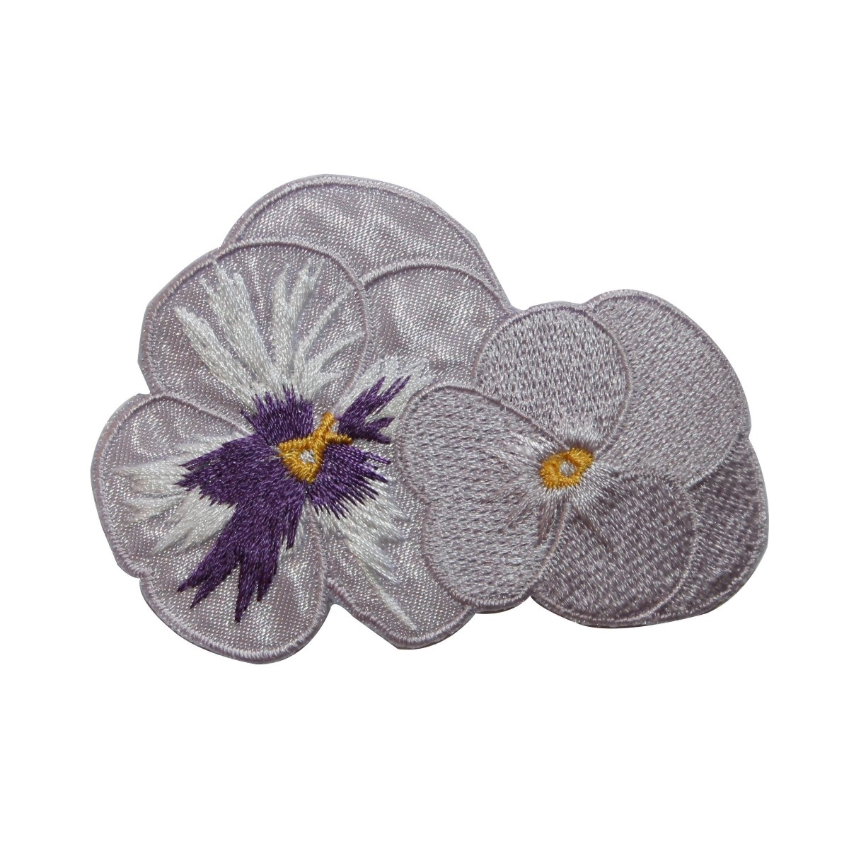 ID 6530 White Pansy Flowers Blossom Patch Garden Embroidered Iron On Applique