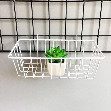 Shelf Grid Hanging Basket Iron Wall Mounted Decoration Innovative Flower Pot Shelf Small Items Display Rack Indoor Pendant White