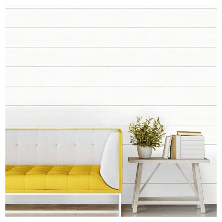 Devine Color Textured Shiplap Peel Stick Wallpaper Ultra White Phthalate New