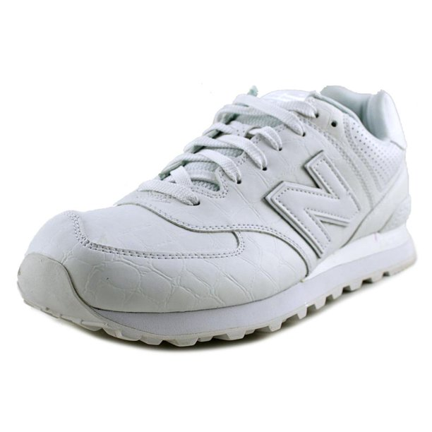 new balance ml574 men  round toe leather white sneakers