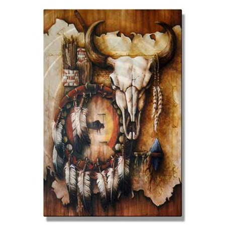 All My Walls 0068ME00007 Echo of the Buffalo Metal Wall Hanging, Multi Color - Small Echo 1 Metal