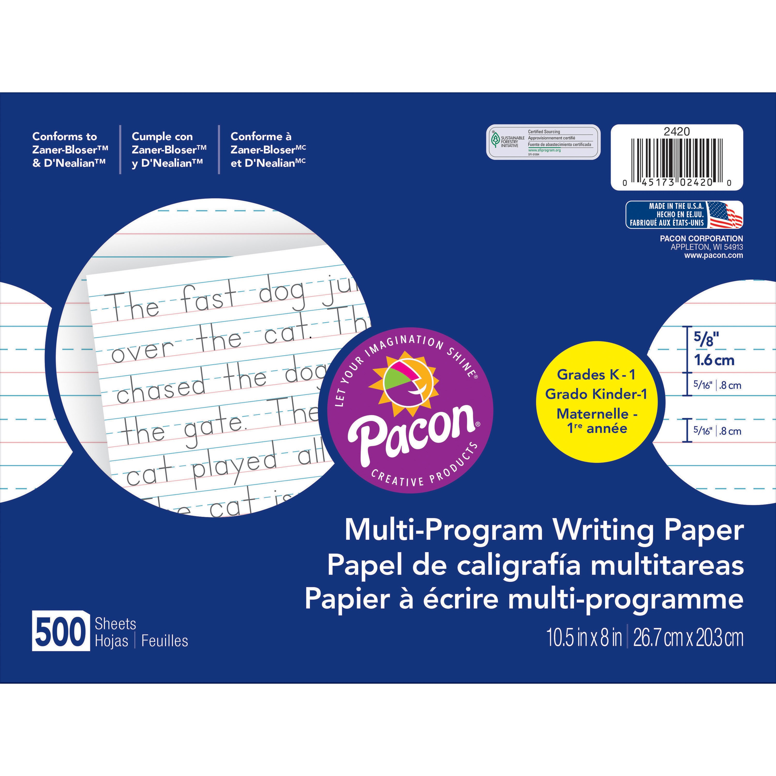 "Pacon Handwriting Paper Tablet, Grades K & 1, Ruled Long, 10.5"" x 8"", 500 Sheets"