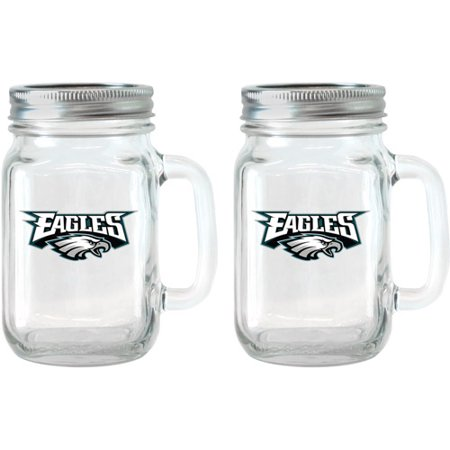NFL 16 oz Philadelphia Eagles Glass Jar with Lid and Handle, 2pk by