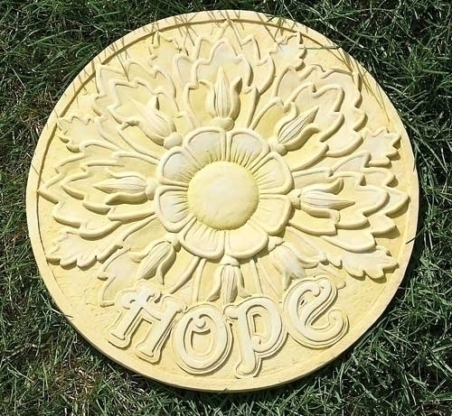 "11.75"" Marigold ""Hope"" Flower Decorative Round Garden Patio Stepping Stone"