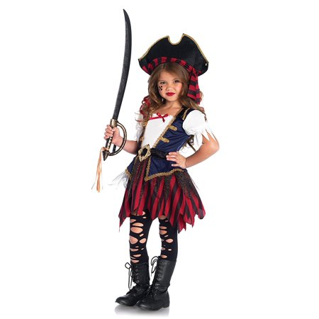 Children's Caribbean Pirate Costume, Arrrrrr she'll be sailing the seven seas in no time in this classic pirate costume featuring beautiful braided.., By Leg Avenue