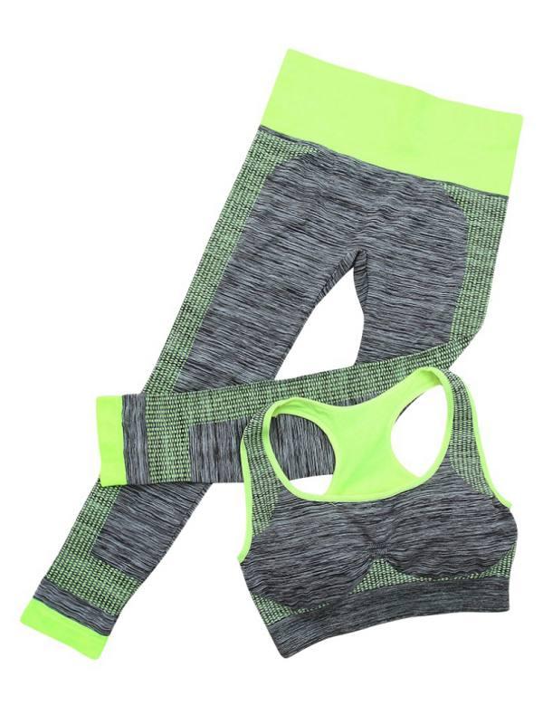 Babula Women Sports Gym Yoga Wire Free Sports Bra Capri Pants Activewear Sets