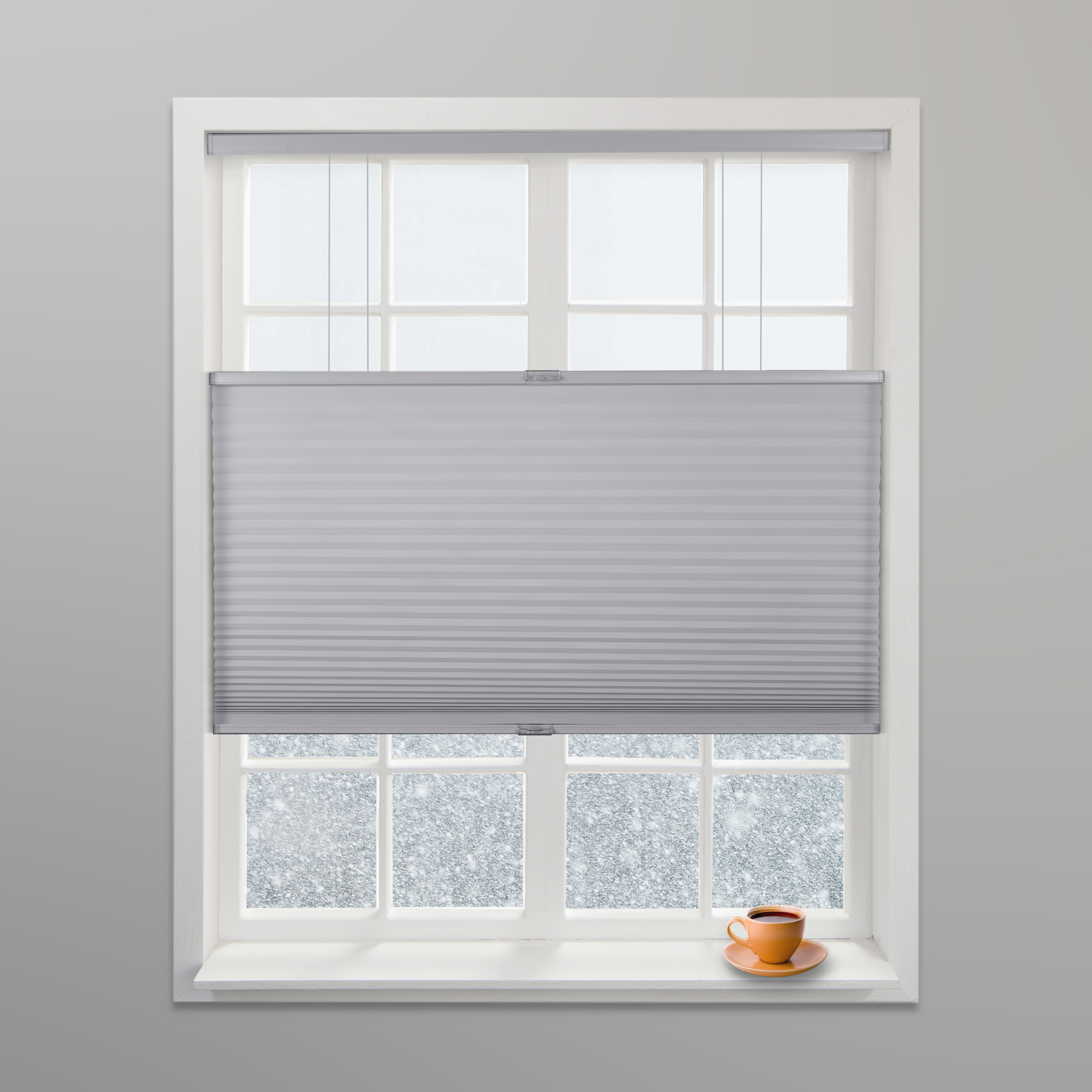 """Arlo Blinds Grey Light Filtering Top Down Bottom Up Deluxe Cordless Cellular Shades - Size: 24""""W x 60""""H, Cordless Honeycomb Blinds"""