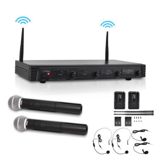 Premier Rack Mount Series VHF Wireless Microphone System, 4-Channel with (2) Wireless Handheld Microphones, (2) Body-Pack Transmitters, (2) Headset & (2) Lavalier Mics