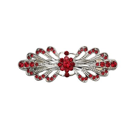 Faship Gorgeous Red Rhinestone Crystal Small Floral Hair Barrette Clip - Red Sadie Green Crystal Clip