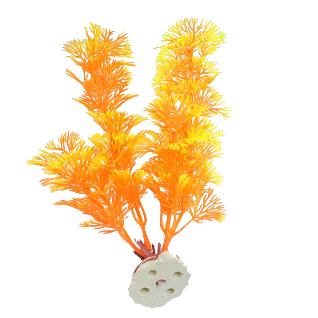 Decorative Aquarium Tank Ceramic Base Orange Yellow Plastic Plants
