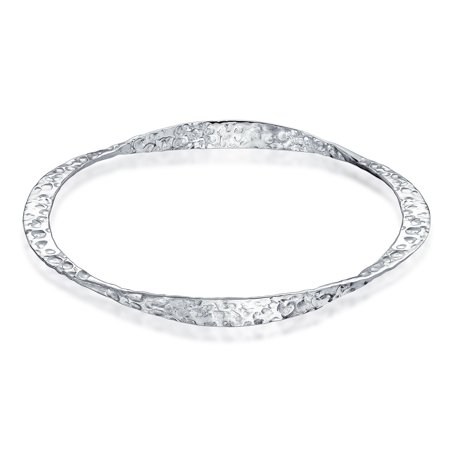 Hammered Twisted Bangle Bracelet For Women Stackable 8.5 Inch Matt Sterling Silver